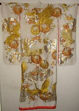 Japanese Uchikake Wedding Kimono Gold Silver Embroidered w/ Cranes Flowers Birds