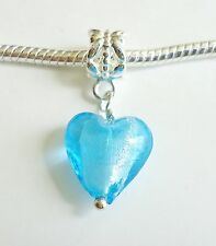 Pendant Charm Bead Lampwork Glass HEART for European style Bracelet. C70