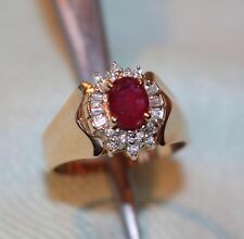 Baguette & Round Diamond HALO RUBY RING 14kt Gold Sz. 8.25 Lovely Estate Piece
