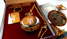 24K GOLD CLAD SAS Full Hunter Pocket Watch & SAS Keyring Gift Set in Luxury Case