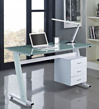White Computer Desk PC Table Office Home Glass Stylish Modern New