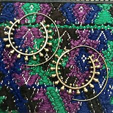 Tribal Dotted Spiral Earrings in Brass