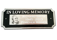 "Memorial Plaque ""IN LOVING MEMORY"" Photo and Text Engraved Aluminium Bench Sign"