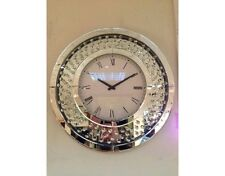 Crystal Mirror Glass Bevelled Round Wall Clock Diamante Style Jewel Gems
