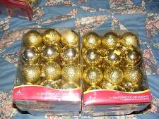 Holiday Time 24ct Shatterproof Gold Christmas Ball Ornaments  (60mm)