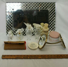 "19"" X 8"" VINTAGE VANITY DRESSING TABLE TRAY WITH MIRROR & BAKELITE MANICURE SET"