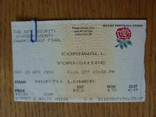 20/04/1991 Ticket: Rugby Union - County Championship Final - Cornwall v Yorkshir