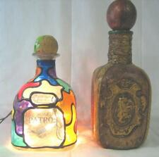 "LOT OF 2 10.5"" GLASS LEATHER WRAPPED DECANTER ITALY & 8"" PATRON BOTTLE LAMP"