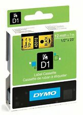 Dymo D1 45018 Black on Yellow S0720580 12mm x 7M Label Cassette Original Genuine