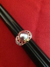 Gold Tone 925 Sterling Silver Pearl Emerald Ruby & CZ Dome Ring - ROYAL estate 7