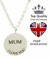 Disc Pendant Personalised Engraved Name Necklace Silver Plated Mothers Day Gift
