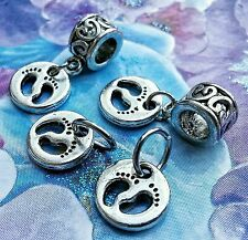 2 Silver Mother Loves Child Baby Footprints Feet European Dangle Charms Pendants