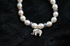 """Dr.Pearl Elastic 7"""" 7-8 mm Baroque pearl bracelet with elephant ornament"""