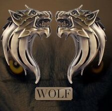 S2S 3D Metal Wolf Head Both Side Car & Bike Sticker Decals Sticker