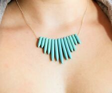 Anthropologie TURQUOISE Natural STONE Bohemian SILVER Necklace BOHO Delicate NEW