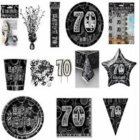 70th Black Glitz Birhtday Party Supplies Decorations Tableware 18 items Free P+P