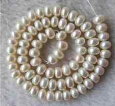 """AAA White Freshwater Pearl Roundel Beads 7-8mm 15"""" AS+S+"""