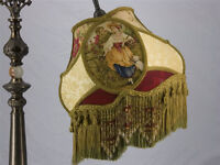VICTORIAN Bridge UNO LAMP SHADE FRAGONARD GOLD FABRIC !