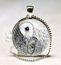 Ying Yang owl Cabochon Silver plated Glass with Ball Chain Pendant Necklace