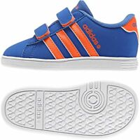 New adidas Kids Trainers Blue/Orange NEO Easy Fastening Shoe Infant Sneakers