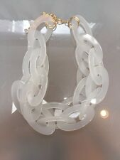 NWOT Frosted Clear Oval Link Chain Statement Necklace Anthropologie