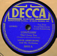 Louis Armstrong Confessin That I Love You 78 40s Decca 2615 Our Monday Date Jazz