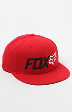 "NWT MEN'S FOX ""TRENCHES"" SNAPBACK ADJUSTABLE HAT/CAP RED SIZE:ONE SIZE"