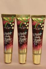 NEW 3 BATH & BODY WORKS WINTER CANDY APPLE LIPLICIOUS LIP GLOSS TUBES .47 FL OZ