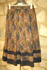 VINTAGE MARION DONALDSON SIZE 12 PURE WOOL BROWN BLUE PAISLEY PLEAD MIDI SKIRT