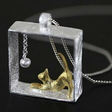 Climbing Cat Pendant Kitty Necklace Women Kitten Chasing Ball Silver Plated