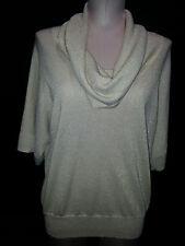 MICHAEL KORS Womens Blouse Top Short Sleeve Shirt Wide Collar Large Beige Gold