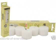 "10 x unscented votive candles 6-8 hours burn - white 100% pure wax 1.5"" diameter"