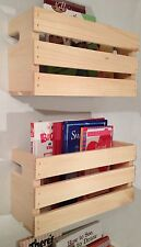 2 Med Crate Style Book Shelves Shelf-Kids-Rustic Crates Wall Mount- Pinterest