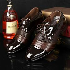 Men Pointed Toe Bridegroom Wedding Business Patent Leather Formal Shoes Brown9.5