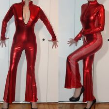 SHINY METALLIC RED CUTOUT SIDES ONESIE CATSUIT JUMPSUIT FRONT ZIPPER STRETCH S M