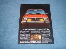 "1977 Honda Civic CVCC Vintage Ad ""It Can Do Things Sports Cars Can't Do."""
