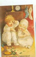 "CHRISTMAS  GREETING CHILDREN ""WAITING FOR SANTA"" ELLEN CLAPSADDLE REPRO (X-32)"