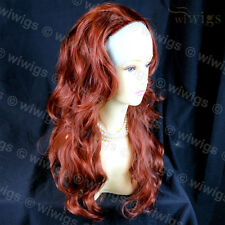 Copper Red 3/4 Fall Hairpiece Long Wavy Layered Lady Half Wig Hair Piece WIWIGS