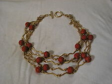 ...YUE-SAI...5-Strand Gold Tone,Faux Carved Cinnabar Necklace...