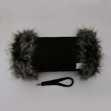 Harris Tweed Jet Black Hand Muff Warmer with Premium Taupe Fur Trim UK Handmade