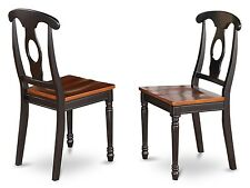 Set of 2 dinette kitchen dining chairs with wood seat in black & cherry brown