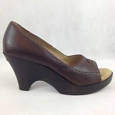 Michael Kors Womens 8 1/2 Brown Leather Wooden Wedge Peep Toe Pumps Wear To Work