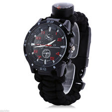 Outdoor Survival Watch Bracelet with Compass  Thermometer Whistle Tool