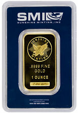 Sunshine Minting Incorporated 1 Troy Oz. .9999 Gold Bar *MADE IN USA* SKU26817