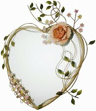 Shabby Chic Vintage HEART Shaped Metal Wall Mirror Pink Flowers Girl Bedroom NEW