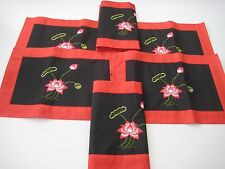 Placemats Set Of 6 Black & Red w/Embroidery  Kitchen Table Mats New