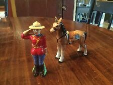 Salt & Pepper Shakers Royal Canadian Mounted Police and Horse Made Japan labels