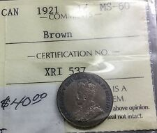 Canada 1921 Small Cent ICCS MS 60   Brown King George V  Wonderful Colour