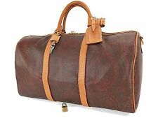 Authentic ETRO Burgundy Paisley Canvas and Leather Boston Duffle Bag #22156