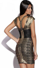 Celebrity Style Black Gold Foil Print Sexy Bandage Body Con Party Dress M